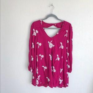 {Free People} Embroidered Long Sleeve Mini Dress